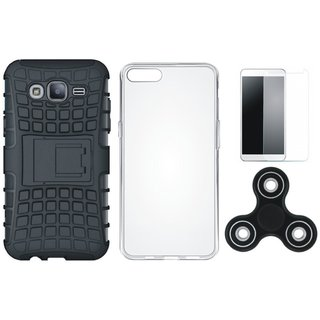 Samsung On7 Prime Shockproof Tough Defender Cover with Spinner, Silicon Back Cover, Tempered Glass