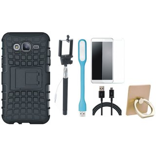 Samsung J7 2016 Version SM-J710 Shockproof Tough Armour Defender Case with Ring Stand Holder, Free Selfie Stick, Tempered Glass, LED Light and USB Cable