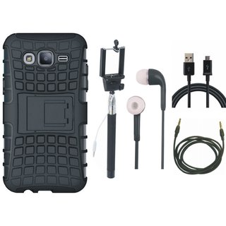 OnePlus 3T Defender Back Cover with Kick Stand with Selfie Stick, Earphones, USB Cable and AUX Cable
