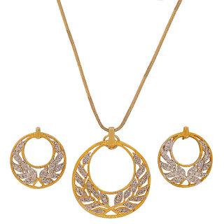 Maayra American Diamond Pendant Set Golden Filigree Leaves shape Party Pendant Set with chain