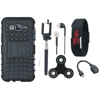 Vivo Y55L Defender Tough Hybrid Shockproof Cover with Spinner, Selfie Stick, Digtal Watch, Earphones and OTG Cable