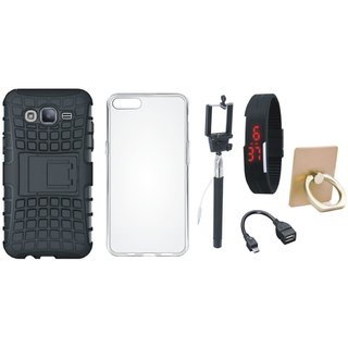 Samsung J7 Prime Dual Protection Defender Back Case with Ring Stand Holder, Silicon Back Cover, Selfie Stick, Digtal Watch and OTG Cable