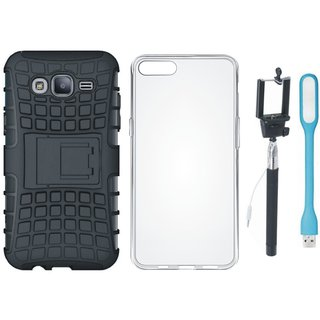Vivo Y55L Shockproof Tough Armour Defender Case with Silicon Back Cover, Selfie Stick and USB LED Light