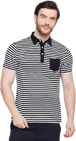 Le Bourgeois Black and White Stripe Collar T-shirt for Men