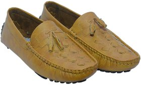 Men's Casual Tan Synthetic Leather Loafers // Driving S