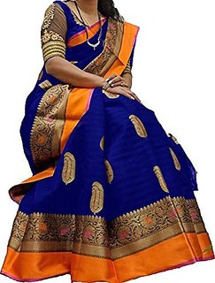 Fabwomen Blue Bhagalpuri Silk Printed Saree With Blouse