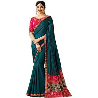 Dhanu Fashion Bollywood Designer Sea Green Color Box Pallu Embroidered  Saree