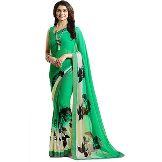 Dhanu Fashion Bollywood Designer Green Color Printed Saree