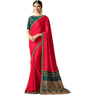 Dhanu Fashion Bollywood Designer Pink Color Box Pallu Embroidered  Saree