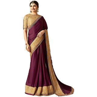 Dhanu Fashion Bollywood Designer Purple Color Embroidered  Saree