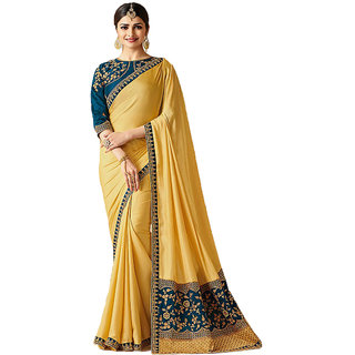 Dhanu Fashion Bollywood Designer Yellow Color Box Pallu Embroidered  Saree