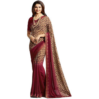 Dhanu Fashion Bollywood Designer Maroon Color Printed Saree