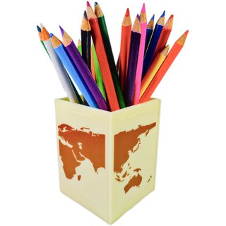 Nekbal World Map Design Printed Multipurpose Desk Organizer Pen Pencil Holder For Office, Home And Multipurpose Stand