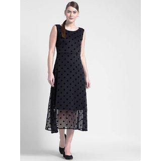 Yaadleen Polyester Black A- line Dress