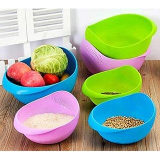 Multipurpose Colander Vegetable And Fruit Basket Cum Rice Wash Sieve Washing Bowl Set of 1