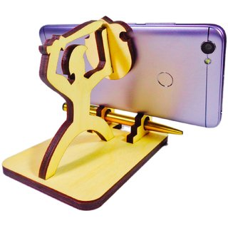 Nekbal Mobile Stand And Pen Holder For Home Kitchen And Office Travel - Warrior Design (Brown)