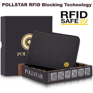 POLLSTAR RFID secure genuine Leather Wallet with Side Flip Double ID Window (WL60K)