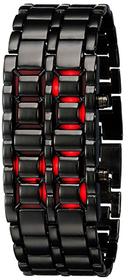 True Colors Men Black Metal Bracelet Red Led Watch