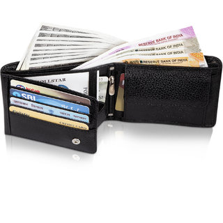 POLLSTAR Luxury Leather Mens Wallets with Coin Packet and ID Window (WL60BK)