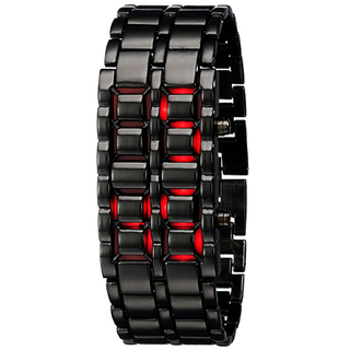 i DIVA'S LIFE STYLE STORE Black Metal Bracelet Red Led Watch For Men