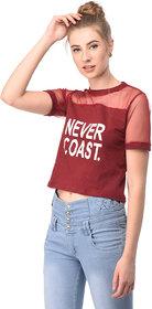 Raabta Womens Red NEVER COAST Printed Top