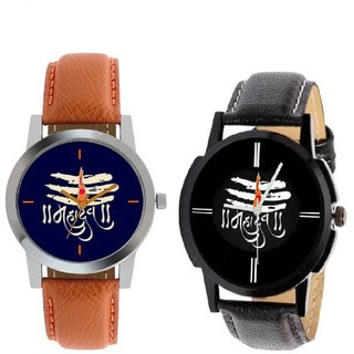 i DIVA'S LIFE STYLE STORE NEW BROWN  BLACK STRAP BLUE  BLACK DIAL MAHADEV  ANLOGE  WATCH FOR BOYS