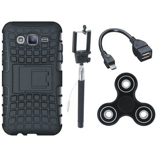 Moto G5 Defender Back Cover with Kick Stand with Spinner, Selfie Stick and OTG Cable