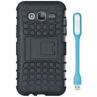 Samsung J7 Prime Dual Protection Defender Back Case with USB LED Light