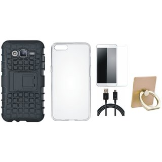 Vivo Y69 Shockproof Tough Defender Cover with Ring Stand Holder, Silicon Back Cover, Tempered Glass and USB Cable