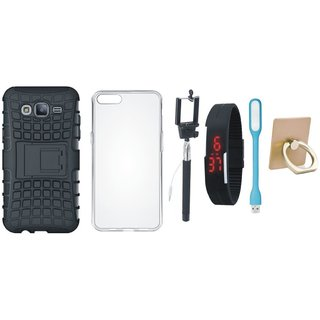 Samsung J7 Prime Shockproof Kick Stand Defender Back Cover with Ring Stand Holder, Silicon Back Cover, Selfie Stick, Digtal Watch and USB LED Light