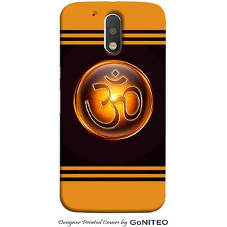 Printed Mobile Phone Back Cover Case for Moto G4 Plus by GoNITEO || Om || Orange || Black ||