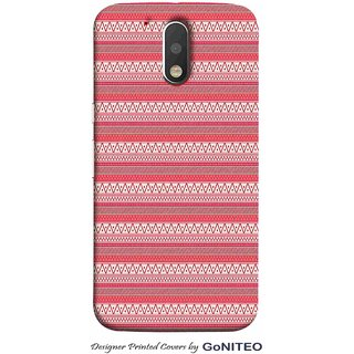 Printed Mobile Phone Back Cover Case for Moto G4 Plus by GoNITEO || Pink || Stripes || Art ||
