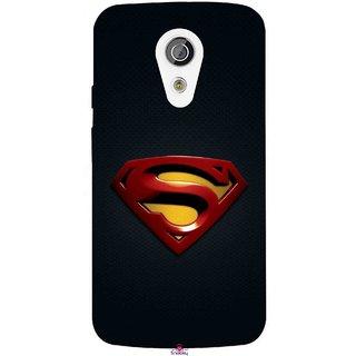 Snooky Printed 962,Black Superman Logo Mobile Back Cover of Moto G2 - Multi