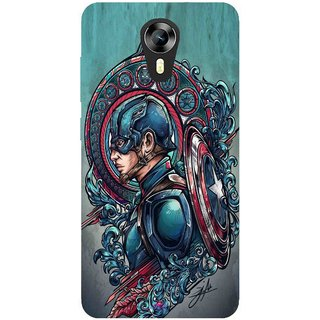 Snooky Printed 973,Captain Ameria Avenger Mobile Back Cover of Micromax Canvas Express 2 E313 - Multi