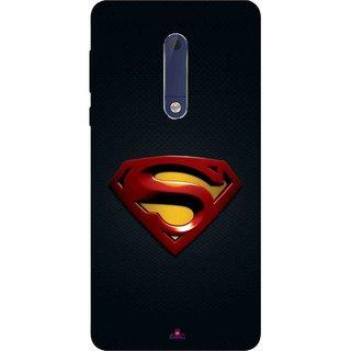 Snooky Printed 962,Black Superman Logo Mobile Back Cover of Nokia 5 - Multi