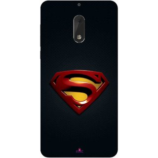 Snooky Printed 962,Black Superman Logo Mobile Back Cover of Nokia 6 - Multi