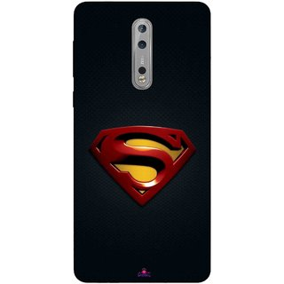 Snooky Printed 962,Black Superman Logo Mobile Back Cover of Nokia 8 - Multi