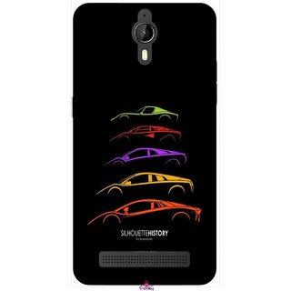 Snooky Printed 1087,silhouette history car Mobile Back Cover of Panasonic P77 - Multi