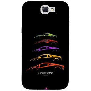 Snooky Printed 1087,silhouette history car Mobile Back Cover of Samsung Galaxy Note 2 - Multi