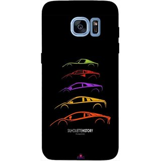 Snooky Printed 1087,silhouette history car Mobile Back Cover of Samsung Galaxy S7 Edge - Multi