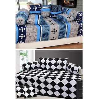 Beautiful Home Cotton Diwan Set (Set of 2)  (2 Diwan Sheets With 4 Bolster Covers  10 Cushion Covers)