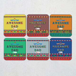 Indigifts Fathers Day Gifts Coaster MDF Multicolor 3.5x3.5 inches Set of 6