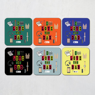 Indigifts Papa Gifts Coaster MDF Multicolor 3.5x3.5 inches Set of 6