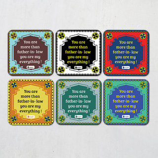 Indigifts Father-in-law Coaster MDF Multicolor 3.5x3.5 inches Set of 6