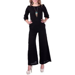 Lavennder Indo-Western Women Casual Black Crepe Boat Neck Three querter Sleeves Jumpsuits