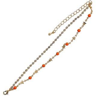 Maayra Orange Dailywear Bracelet Free size Studded Bracelet for Women