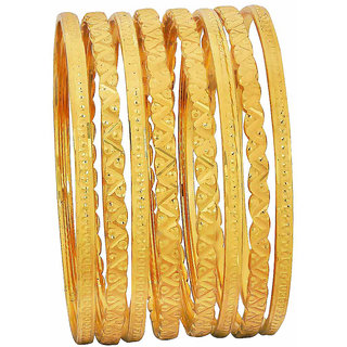 Maayra Golden Dailywear Bangle Set 2.6 size Hand Crafted Bangle Set for Women