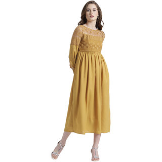Texco Women Mustard Summer cool Boat neck Fashion sleeve Solid Dress
