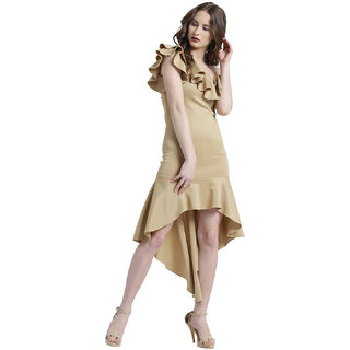 0bb7d538dba Buy Texco Women Golden Beige Polyester lycra One shoulder Solid Dress Online  - Get 70% Off