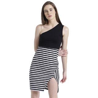 a31dbf8bcd Buy Texco Women Black   white Striped Bodycon Dress Online - Get 56% Off